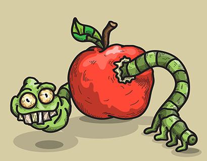 Яблоко от червячка недалеко падает
